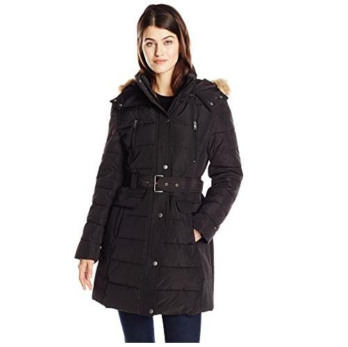 史低价!Tommy Hilfiger 女士长款束腰连帽羽绒服,原价$320.00,现仅售$68.91 ,免运费。