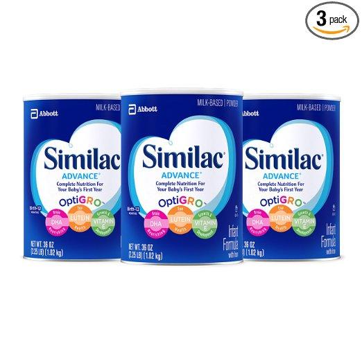 比黑五还便宜!Similac 雅培 Advance Infant 金盾含铁1段配方奶粉,36 oz/罐,共3罐,现点击coupon后仅售$52.54,免运费