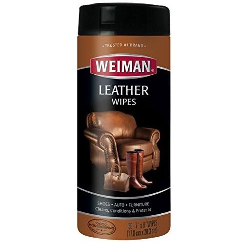 Weiman 皮革清洁滋养护理湿巾, 30片装,原价$8.99,现仅售 $3.99